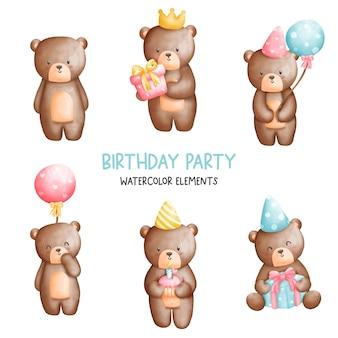 Elementi di compleanno dell'orso dell'orsacchiotto dell'acquerello della pittura digitale