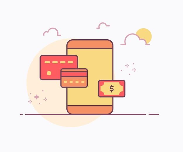 Smartphone di concetto di pagamento digitale intorno ai soldi della carta di credito con l'illustrazione di disegno di vettore di stile di linea continua di colore morbido