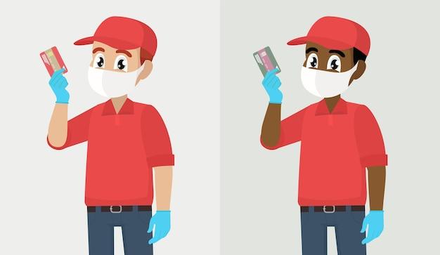 Tecnologia di pagamento digitale addetto alle consegne o corriere in maschera e guanti che mostrano la carta di credito
