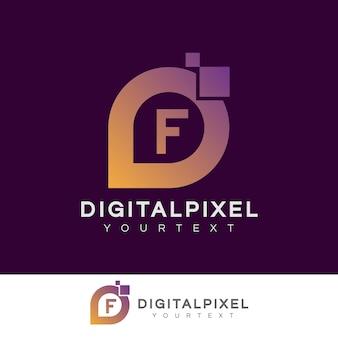 Iniziale di pixel digitali lettera f logo design