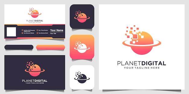 Modello di logo del pianeta digitale. pianeta combinato con pixel.