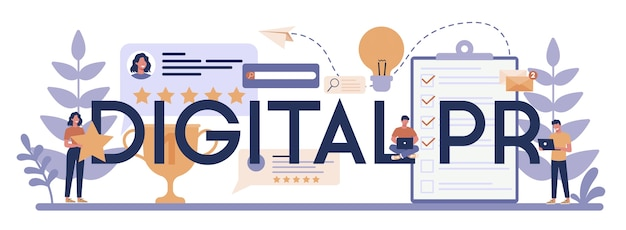 Concetto di intestazione tipografica digitale pr