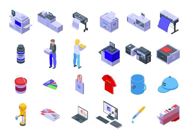 Set di icone di stampa digitale. set isometrico di icone vettoriali per la stampa digitale per il web design isolato su sfondo bianco