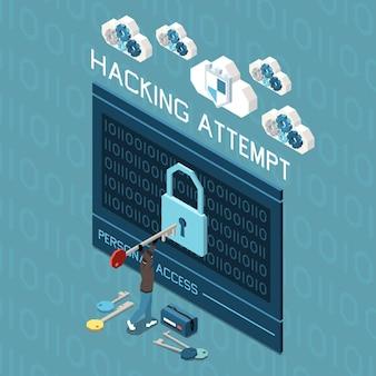 Composizione della protezione dei dati personali della privacy digitale in vista isometrica