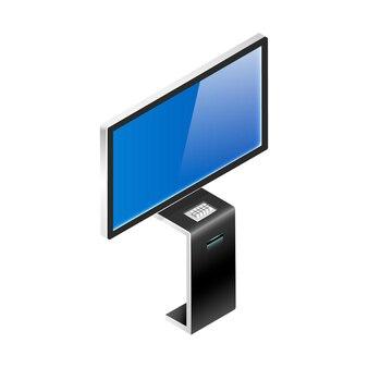 Illustrazione isometrica della scheda di presentazione del prodotto digitale