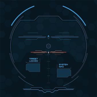 Schermo radar digitale interfaccia utente futuristica con pannelli dettagliati