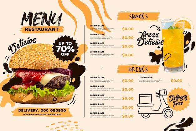 Modello di formato orizzontale menu ristorante digitale con drink e hamburger