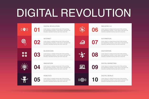 Modello di opzione infografica 10 rivoluzione digitale. internet, blockchain, innovazione, industria 4.0 icone semplici