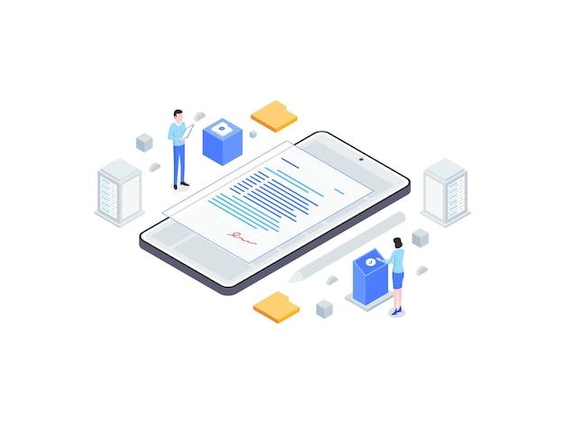 Illustrazione piana isometrica di firma digitale. adatto per app mobili, siti web, banner, diagrammi, infografiche e altre risorse grafiche.