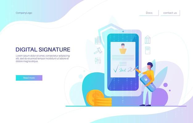 Progettazione della pagina di destinazione della firma digitale, modello di vettore del banner del sito web. uomo d'affari che firma un contratto sullo schermo dello smartphone