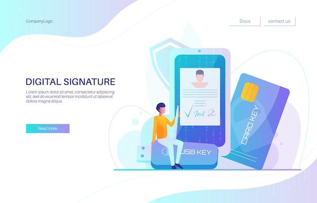 Progettazione della pagina di destinazione della firma digitale, modello di vettore del banner del sito web. uomo d'affari che firma documento elettronico sul cellulare