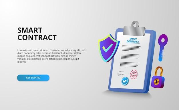 Contratto intelligente digitale per sicurezza di accordi di documenti con firma elettronica, finanza, società legale. documento degli appunti Vettore Premium