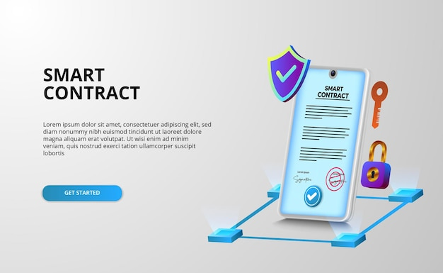 Contratto intelligente digitale per sicurezza di accordi di documenti con firma elettronica, finanza, società legale.