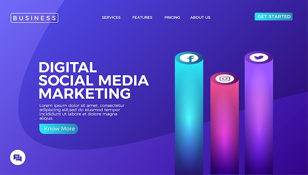 Pagina di destinazione del sito web di social media marketing digitale