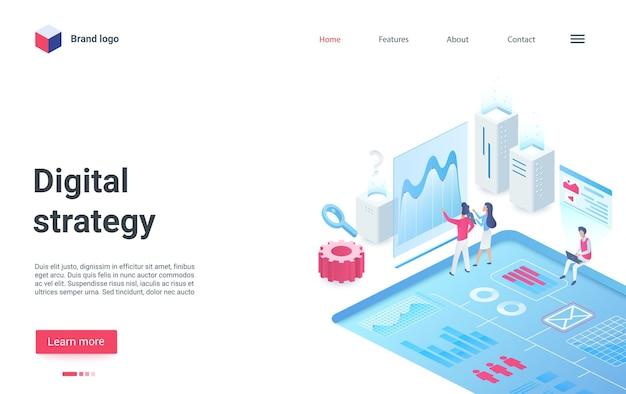 Le persone della pagina di destinazione isometrica della piattaforma di strategia digitale analizzano i dati del mercato commerciale
