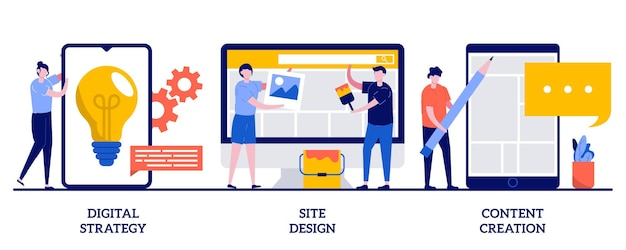 Strategia digitale, design del sito, illustrazione della creazione di contenuti con persone minuscole