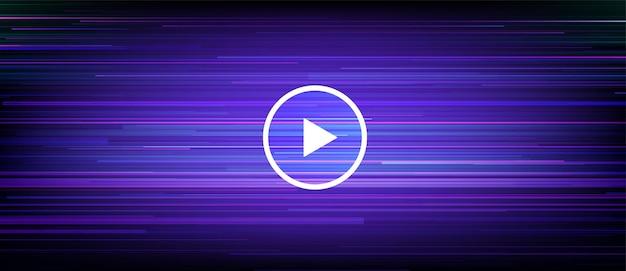 Banner in streaming digitale con linee di movimento dinamiche. lettore video in streaming live con pulsante di riproduzione. finestra del lettore multimediale.