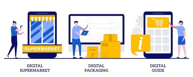 Supermercato digitale, packaging e concetto di guida con persone minuscole. set di servizi online. software per etichette ar, pagamento online, negozio di alimentari, app guida mobile.