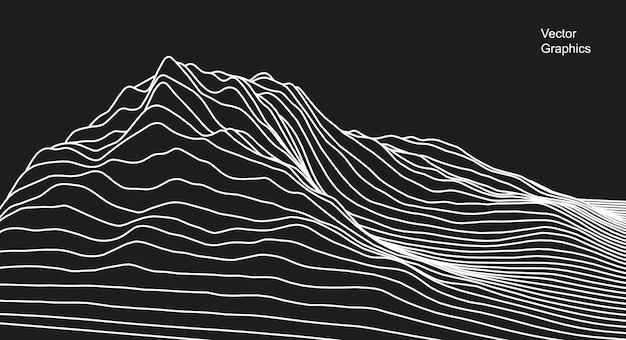 Superficie digitale fatta di linee. illustrazione astratta di tecnologia. - vettore.