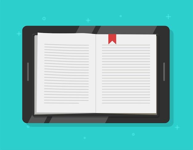 Tablet digitale con lettura di libri o ebook sullo schermo del computer mobile