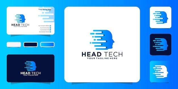 Ispirazione e biglietto da visita per il design del logo della testa umana con tecnologia digitale