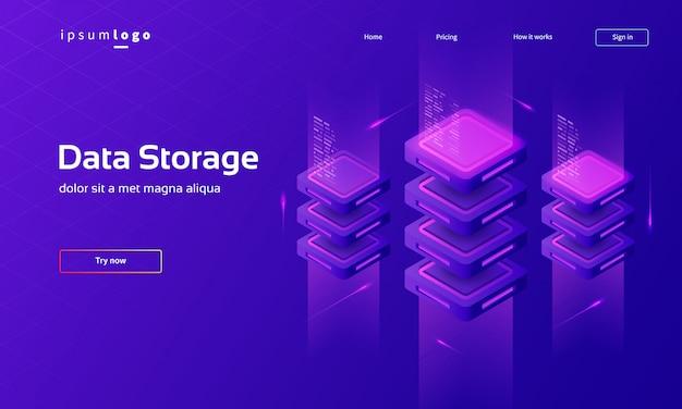 Pagina di destinazione isometrica con tecnologia digitale, memorizzazione dei dati