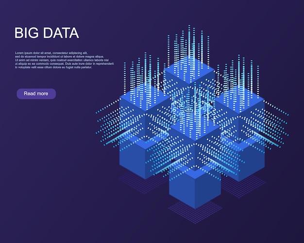 Banner web di tecnologia digitale. algoritmi di machine learning per big data. analisi astratta della bandiera delle informazioni. vista isometrica. sfondo blu scuro di scienza.