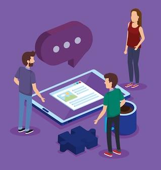 Tecnologia digitale con isometria di lavoro di squadra