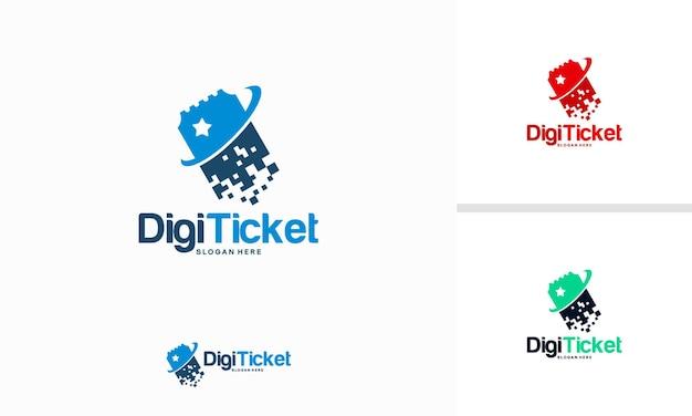 Il logo del biglietto digitale progetta il vettore del concetto, il modello del logo del biglietto pixel