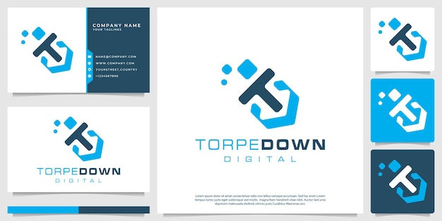 Logo siluro digitale per aziende tecnologiche