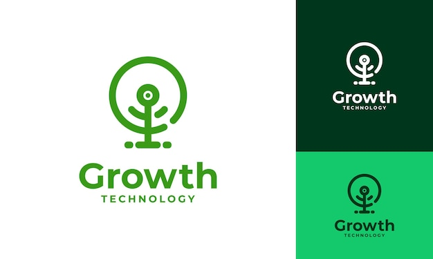 Il logo dell'albero digitale progetta il vettore del concetto, il vettore del simbolo del logo dell'albero della tecnologia di crescita