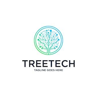 Modello di progettazione del logo della connessione di rete dell'albero digitale