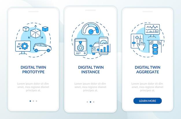Schermata della pagina dell'app mobile onboarding dei tipi di gemelli digitali. guida ai sistemi di automazione 3 passaggi istruzioni grafiche con concetti. modello vettoriale ui, ux, gui con illustrazioni a colori lineari