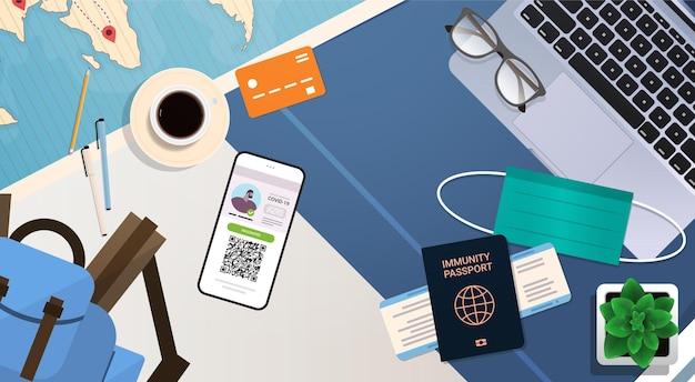 Certificato di vaccinazione digitale e passaporto di immunità globale sul concetto di immunità al coronavirus sul posto di lavoro