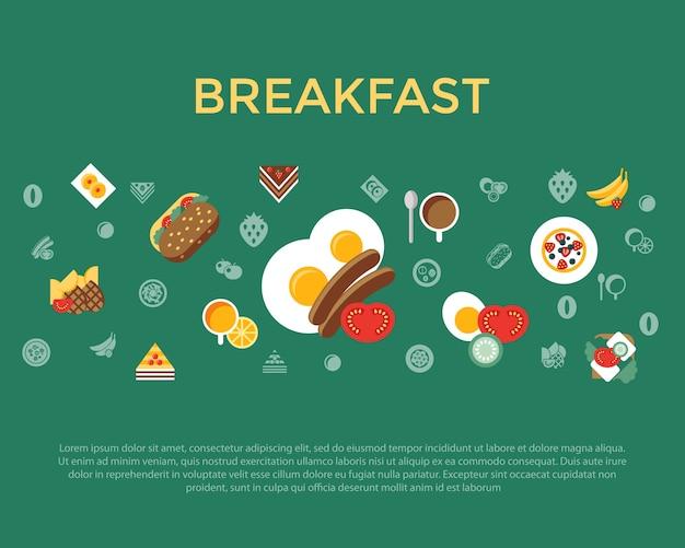 L'alimento fresco e le bevande del pasto della prima colazione di vettore di digital vector l'icona piana semplice messa con caffè