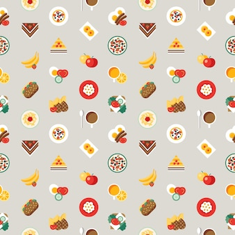 L'alimento fresco e le bevande del pasto della prima colazione di vettore di digital colora l'insieme piano semplice dell'icona