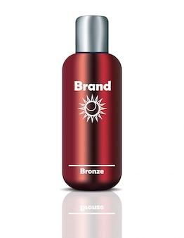 Pacchetto vettoriale digitale vettoriale realistico. bottiglia per prodotti di bellezza con logo design. mockup 3d illustrazione realistica