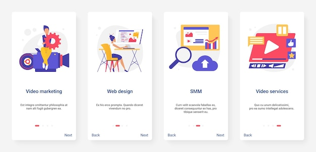 Digital video marketing smm web service ui ux onboarding set di schermate della pagina dell'app mobile