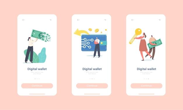 Modello di schermo integrato della pagina dell'app mobile del portafoglio digitale