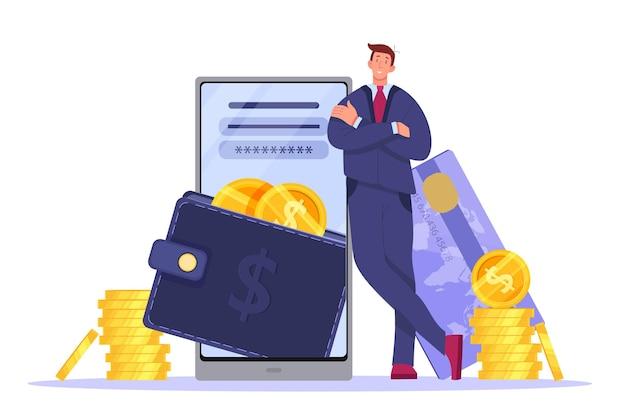 Portafoglio digitale, pagamento online o illustrazione di mobile banking con smartphone, uomo d'affari, carta, monete.