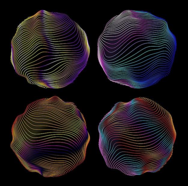 Glitch dell'onda digitale cerchi rotondi, forma astratta al neon