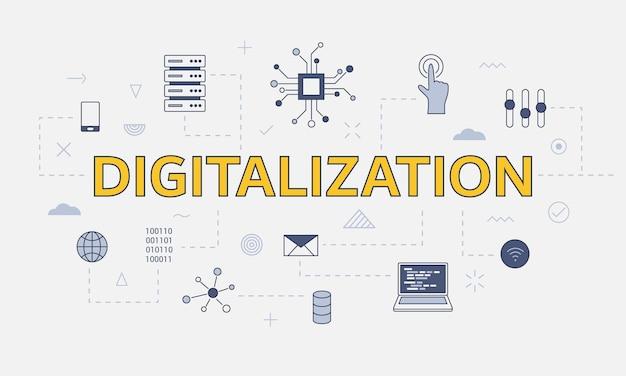 Concetto di digitalizzazione con set di icone con grandi parole o testo al centro dell'illustrazione vettoriale