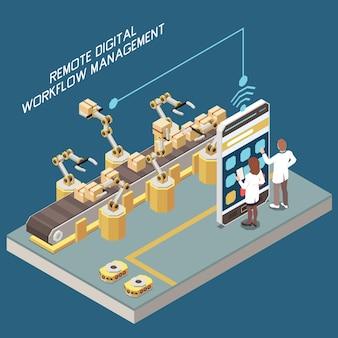 Digitalizzazione nel concetto isometrico di produzione con dipendenti di fabbrica che controllano bracci robotici e trasportatore