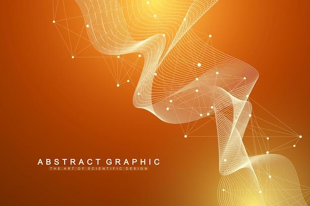 Fondo astratto di cifre con linea collegata e punti, flusso d'onda. reti neurali digitali. sfondo di rete e connessione per la tua presentazione. sfondo grafico poligonale. illustrazione vettoriale.