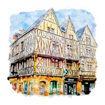 Illustrazione disegnata a mano di schizzo dell'acquerello di digione francia