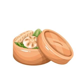Dim sum in scatola di bambù a vapore. illustrazione vettoriale di cucina cinese.
