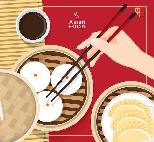 Dim sum illustrazione di cibo cinese, cibo asiatico dim sum in steamer