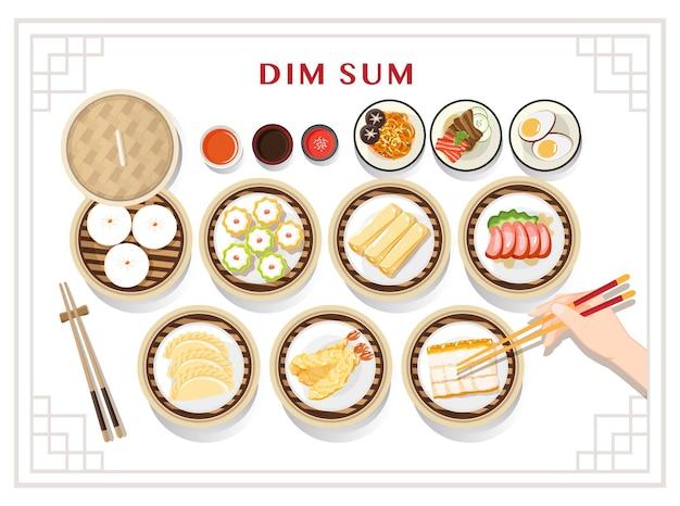 Menu dim sum imposta illustrazione cibo asiatico