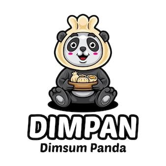 Dim-sum panda cartoon logo modello