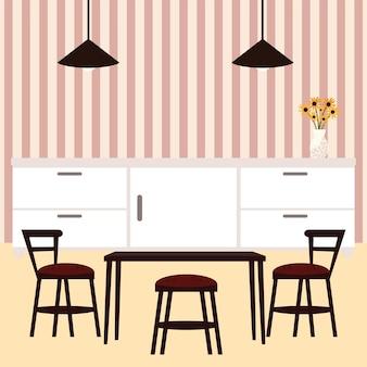 Arredamento sala da pranzo con lampada e fiori